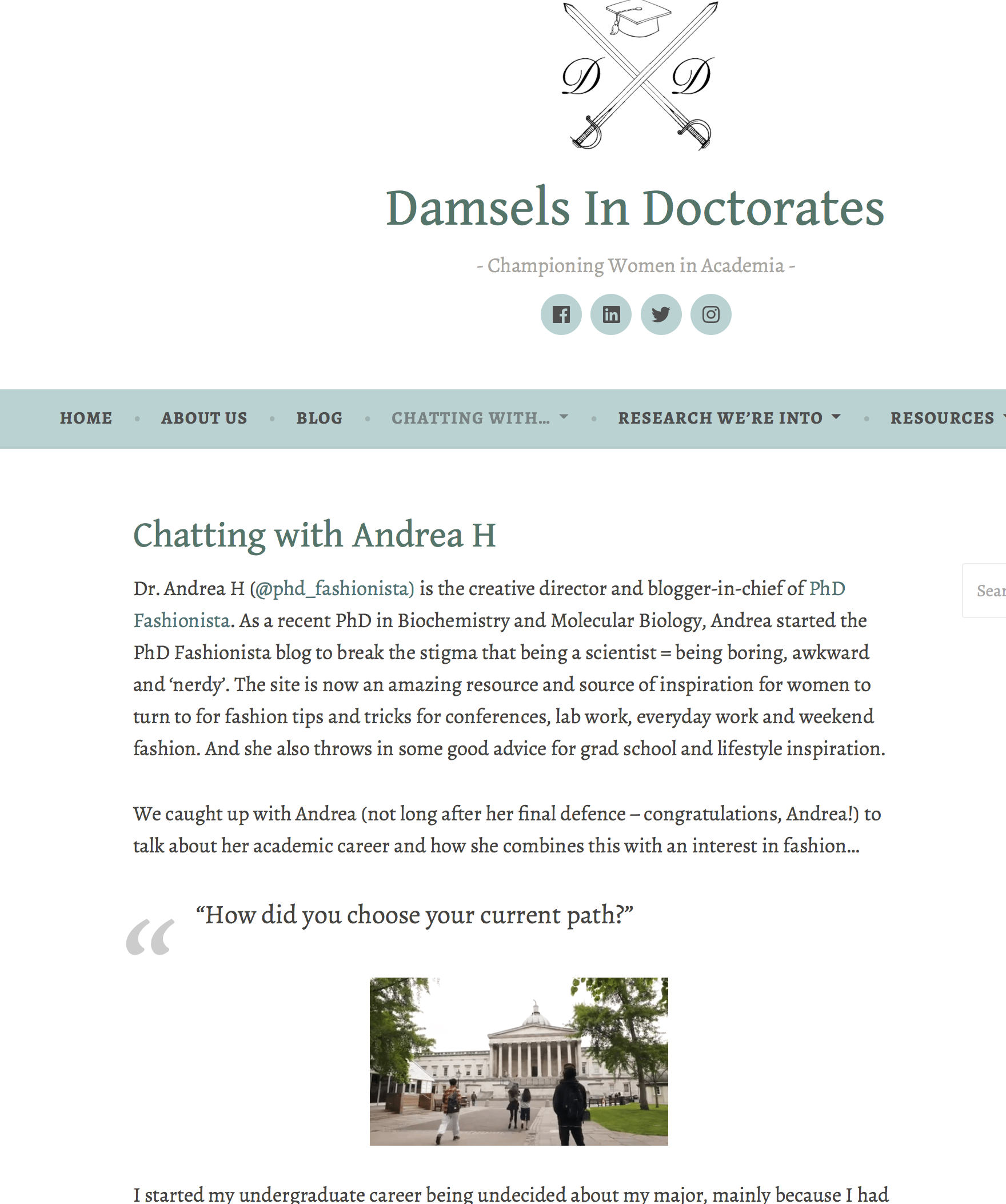PhD Fashionista feature in Damsels in Doctorates