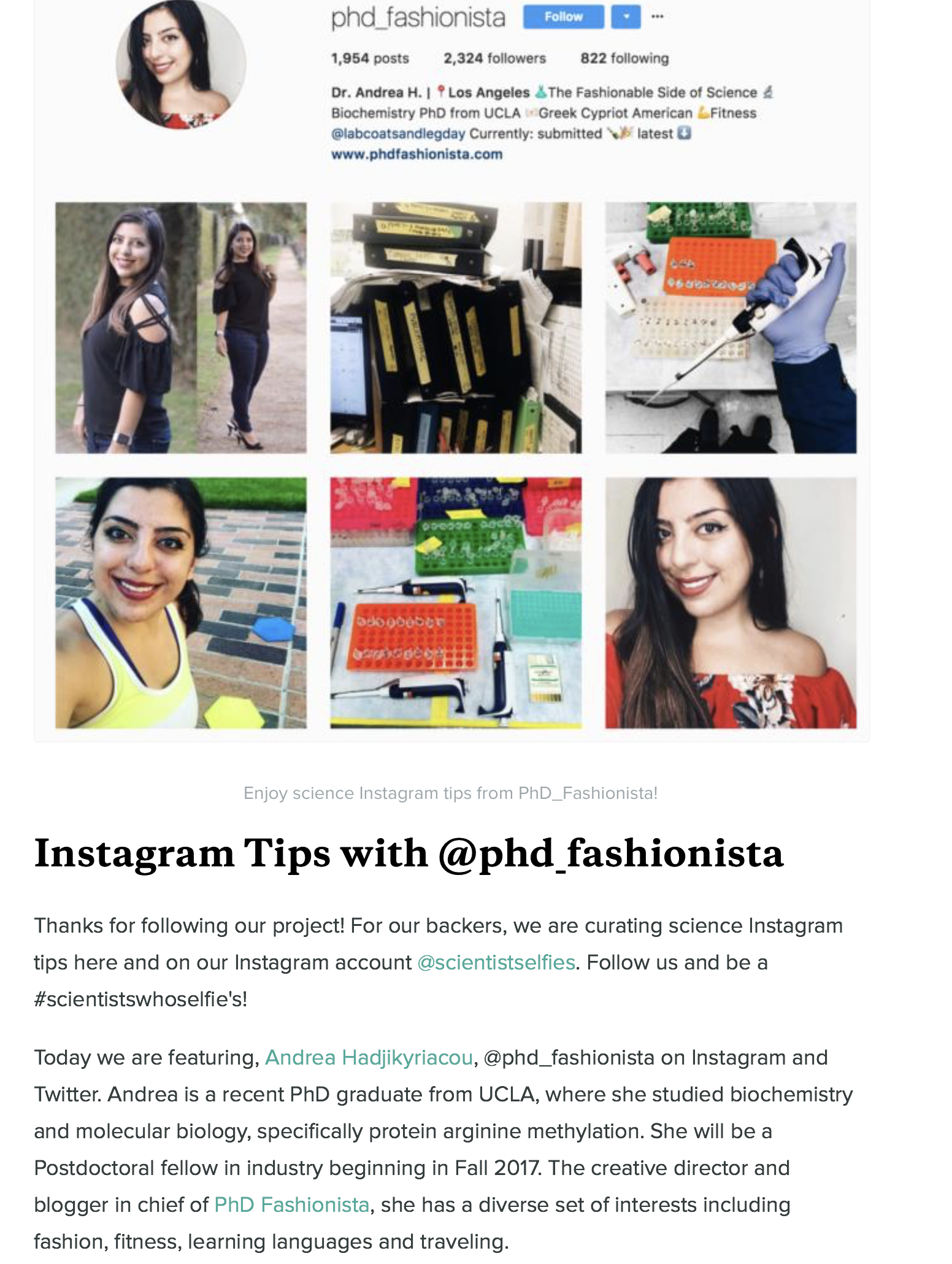 Scientist Selfies Instagram Tips with PhD Fashionista
