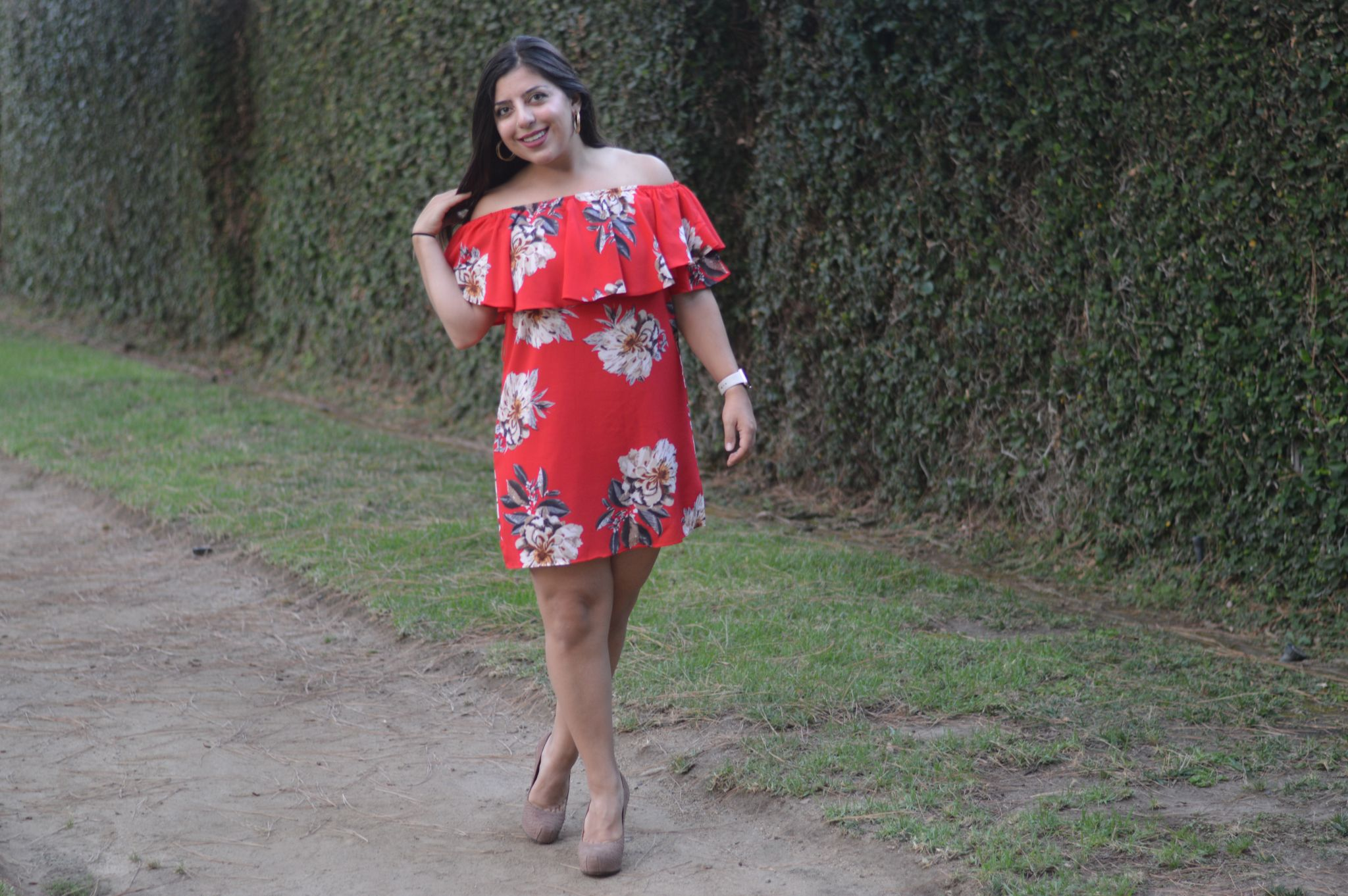 PhD Fashionista styles off the shoulder red dress